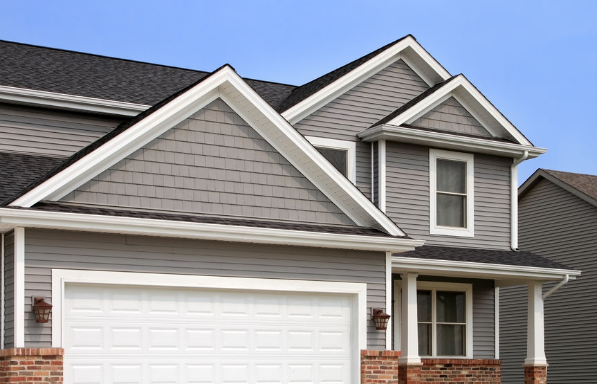 vinyl siding - grey shake and 4""